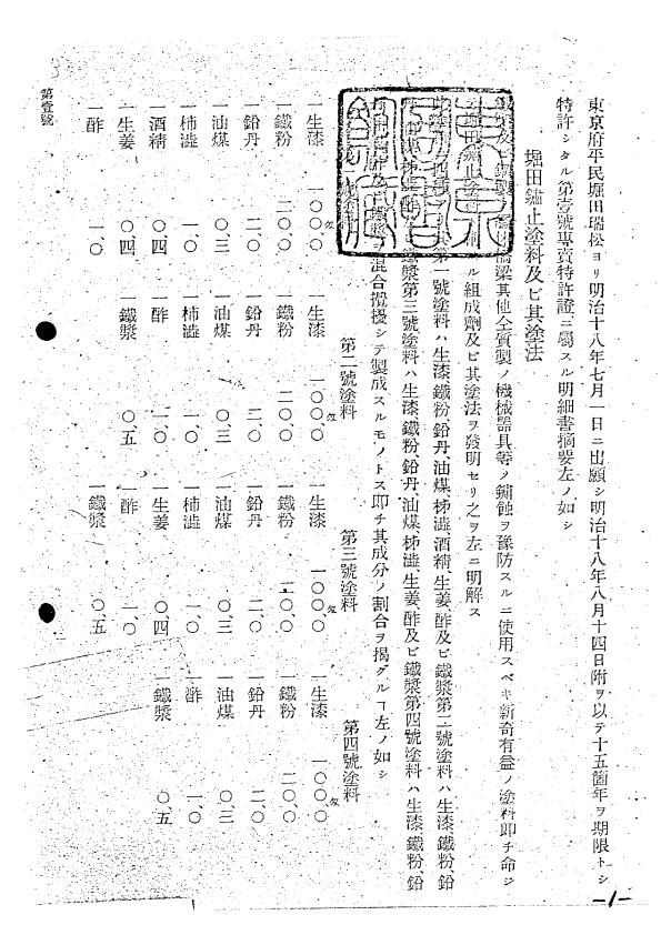 日本の特許第一号