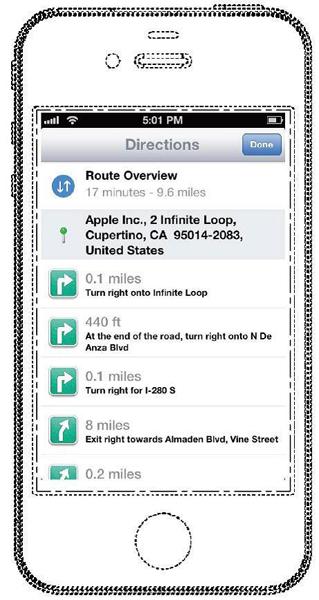 アップルの『ナビ画面』の登録意匠
