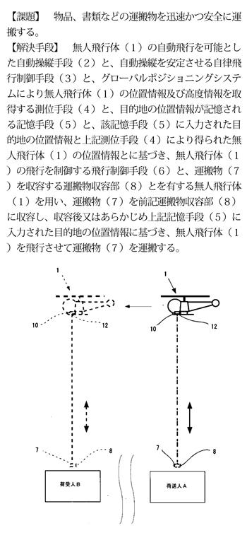 無人機を使った配達方法に関するビジネスモデル特許  ※IPDLより引用