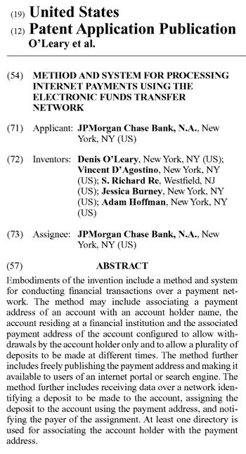 JPMorgan Chase Bankの米国特許申請