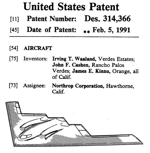 B-2ステルス爆撃機の米国デザイン特許