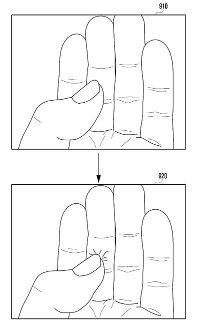 親指によるキー入力