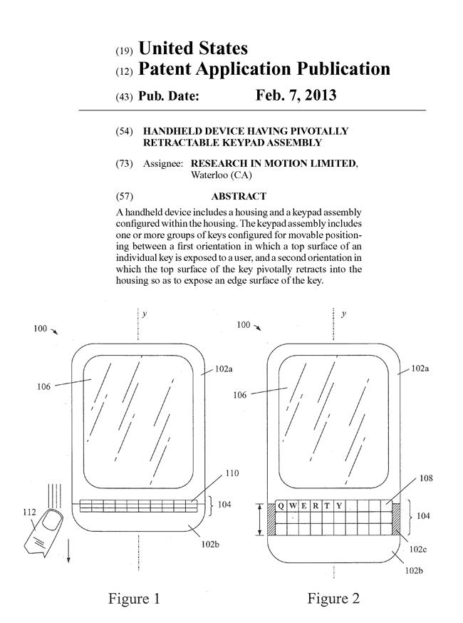 スマホ用キーボードに関する米国特許出願