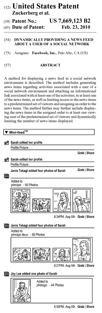 Facebookのニュースフィード特許