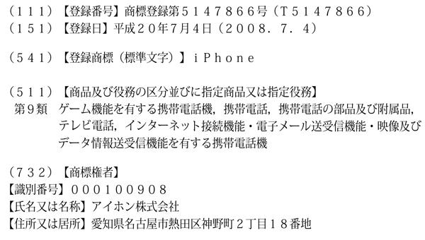 iPhoneの商標権