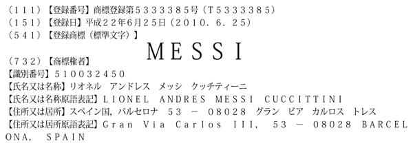 『メッシ』の商標権