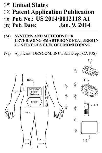 スマホを使った血糖値の管理に関する米国特許出願
