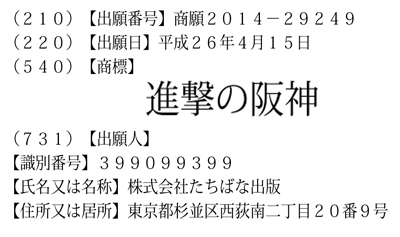 『進撃の阪神』の商標登録申請