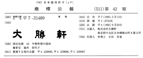 『大勝軒』の登録商標
