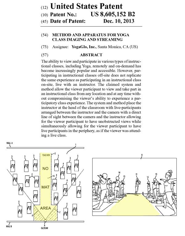 ヨガ教室の動画撮影方法に関する米国特許権